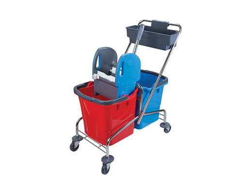 Double Bucket Mop Trolley-Chrome